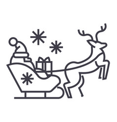 santa claus in a sleigh with a deer line vector image