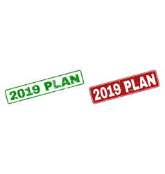 scratched 2019 plan rubber prints with rounded vector image