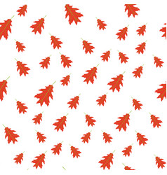 Seamless pattern of autumn red leaves randomly vector