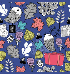 Seamless pattern with autumn flora and doodle vector