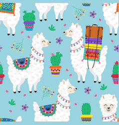 seamless pattern with llama and cacti vector image