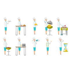 senior caucasian chef set vector image