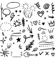 set hand drawn design elements arrow heart vector image