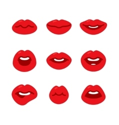 Set of flat icons with lips vector image