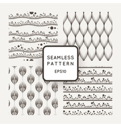 Set of four seamless patterns with flowers vector image