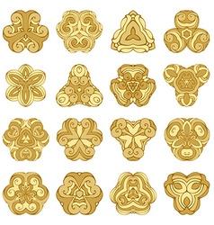 set of gold ornamental mandalas vector image
