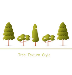 Set of green forest trees and bushes vector