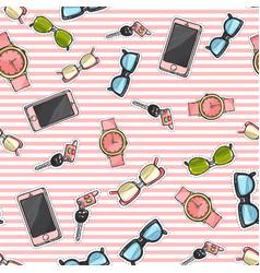 set of phones watches sunglasses car keys vector image