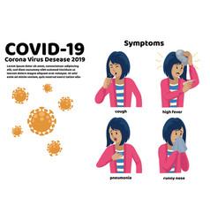 set women with corona virus symptoms vector image