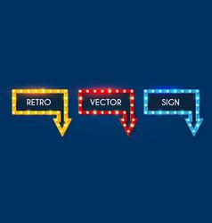 Shining retro light arrow sing set vintage banner vector