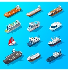 Ships Boats Vessels Isometric Icon Set vector image
