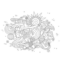 summer black hand drawn thin line coloring book vector image