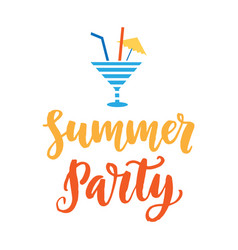 Summer party hand drawn poster with ink lettering vector