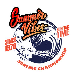 summer vibes emblem template with sea waves vector image