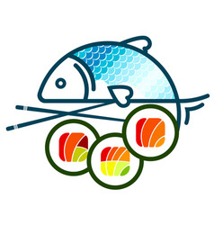 sushi and fish vector image