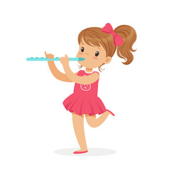 Sweet little girl playing flute young musician vector