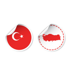 Turkey sticker with flag and map label round tag vector