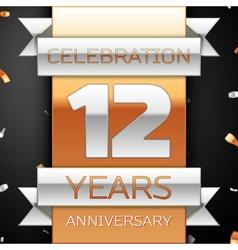 Twelve years anniversary celebration golden and vector image