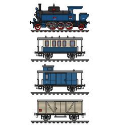 Vintage blue steam train vector