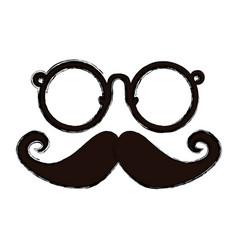 Vintage glasses and mustache vector