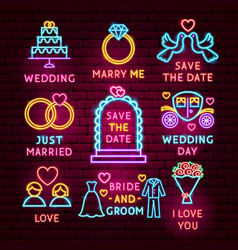 wedding neon label set vector image