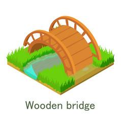 wooden bridge icon isometric style vector image