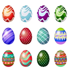 A dozen of painted easter eggs vector image vector image