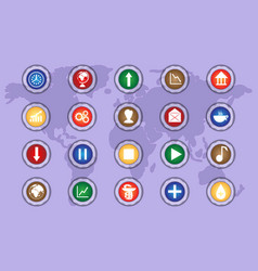 a set of icons on colored buttons part two vector image vector image