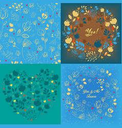 blue floral heart round and seamless patterns set vector image