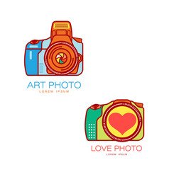 camera logo for art and wedding photographer vector image