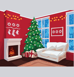 colorful christmas room interior with red walls vector image vector image