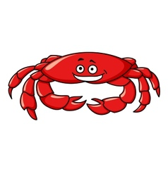 Colorful red cartoon crab vector image
