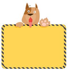 cute alert dog hold empty board vector image