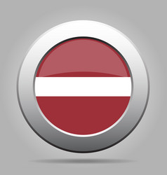 flag of latvia shiny metal gray round button vector image vector image