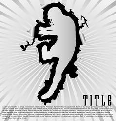 football silhouette break through white background vector image
