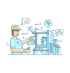 foreman controls construction of building vector image