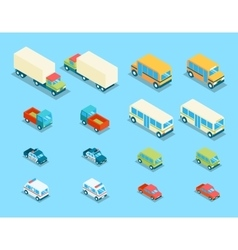 Isometric city transport 3d icons set vector image