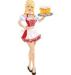 Oktoberfest girl with tray of beer vector image vector image