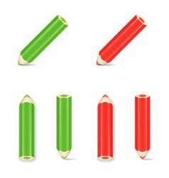 Pencil Icon Set Green Red vector image