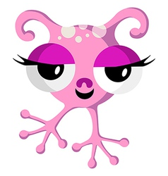 Pink Space Monster On White vector image