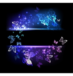 Banner with Glowing Butterflies vector image vector image