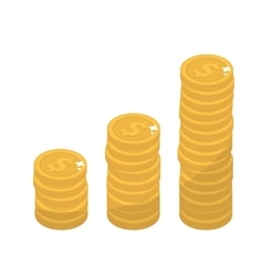 Coin stacks flat design Gold coins increase up vector image