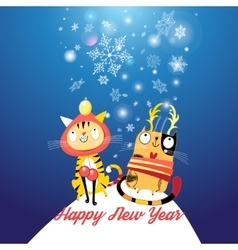 Funny cats in the New year vector image vector image
