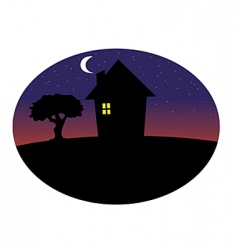 home silhouette night vector image vector image