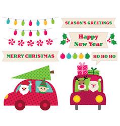 santa claus in a car christmas design elements vector image vector image