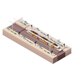 isometric train station vector image