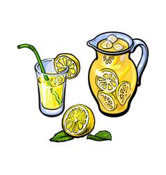 lemonade jug glass of lemon juice straw vector image vector image