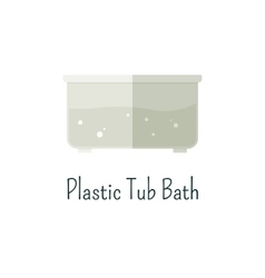 Plastic tub bath flat icon Isolated color vector image vector image