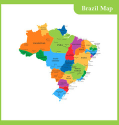 the detailed map of the brazil vector image vector image