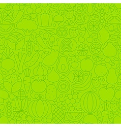 Thin Line Green Eat Healthy Vegetarian Seamless vector image vector image